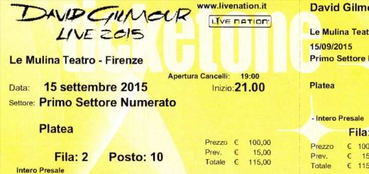 2015 David Gilmour Florenz, Ticket