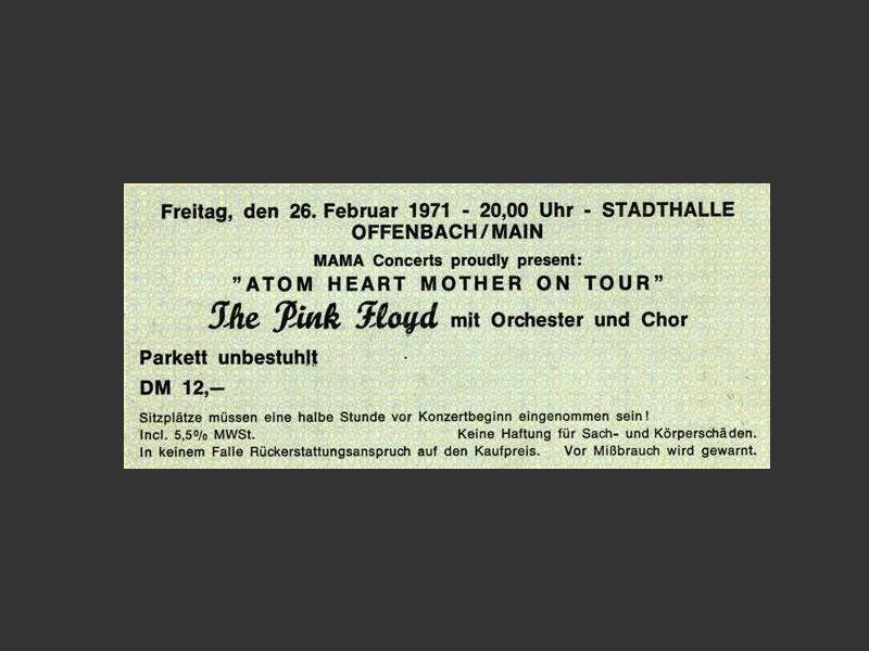 1971 Pink Floyd Offenbach Ticket