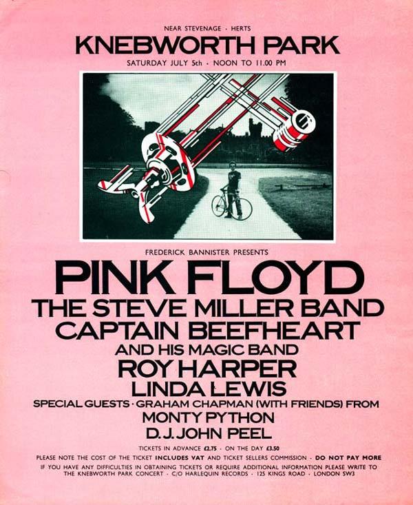 Pink Floyd 1975 Knebworth Poster