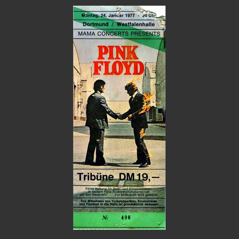 24.1.1977 Pink Floyd Dortmund Ticket