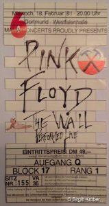 Pink Floyd 1981 Dortmund Ticket