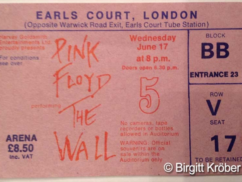 1981 Pink Floyd London Ticket