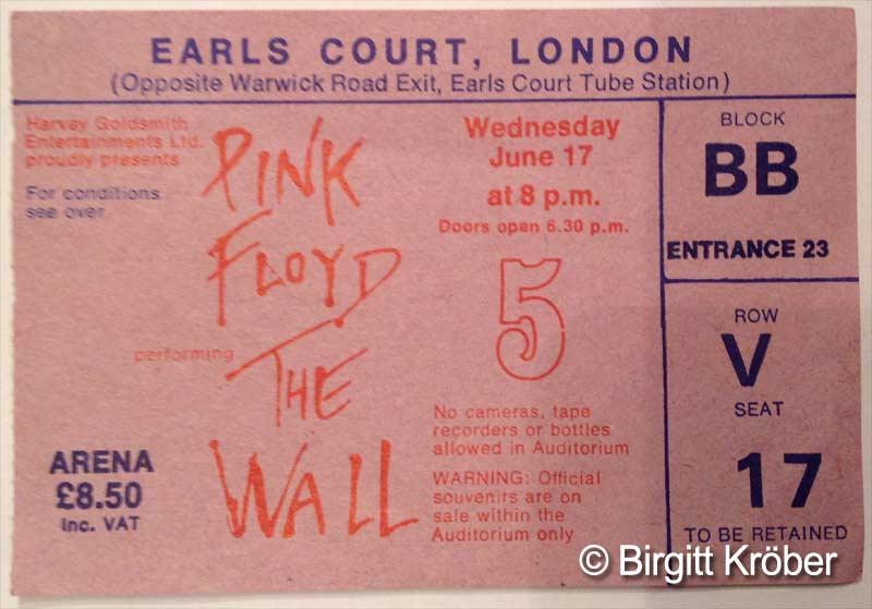 1981 Pink Floyd London Ticket