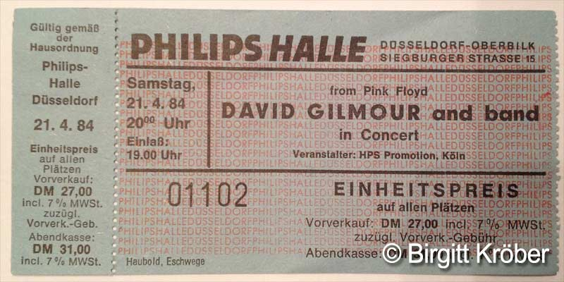 1984 David Gilmour Düsseldorf Ticket