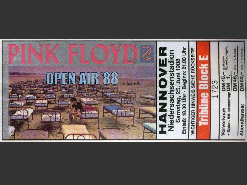1988 Pink Floyd Hannover Ticket