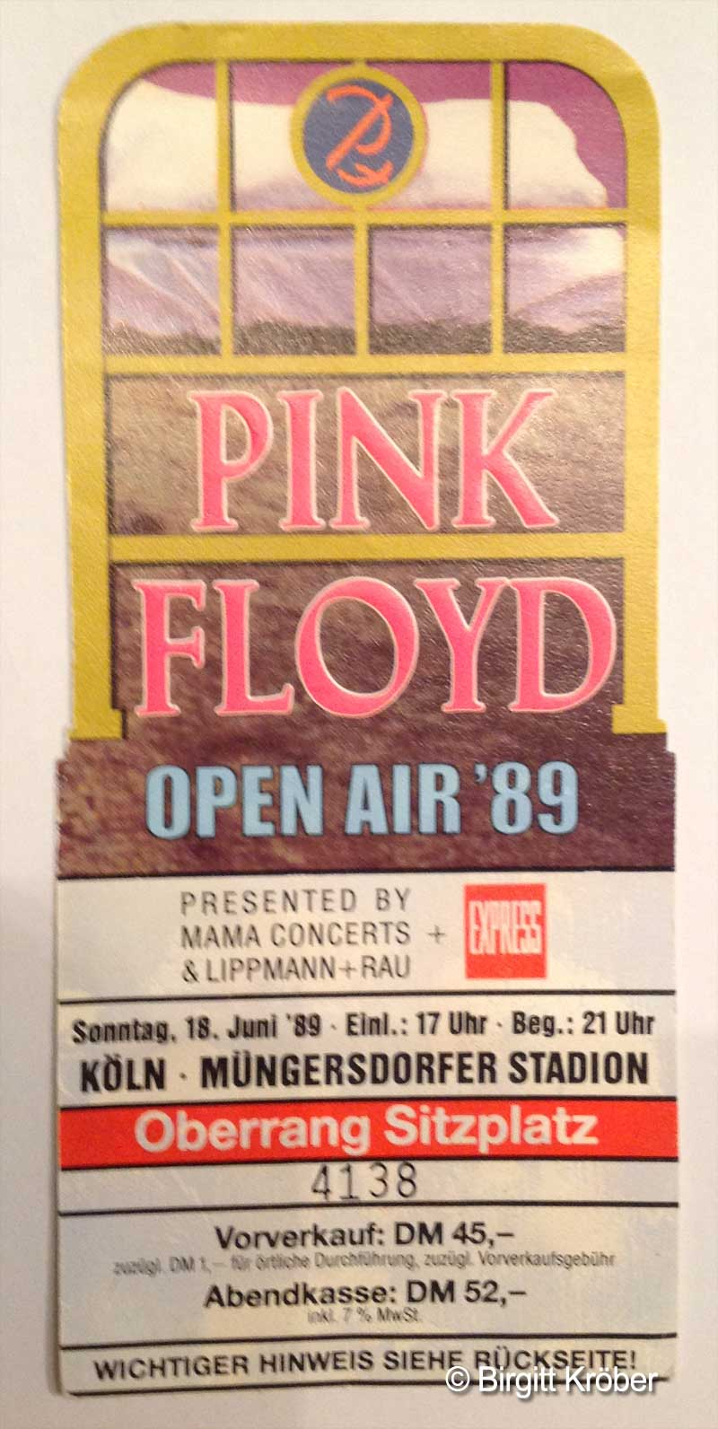 1989 Pink Floyd Köln Ticket