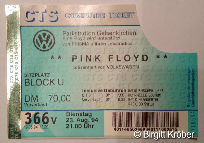 1994 Pink Floyd Gelsenkirchen Ticket