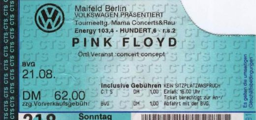 Pink Floyd 1994 Berlin Ticket