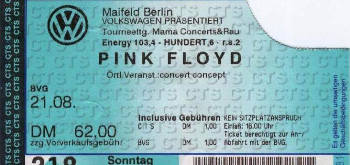 Pink Floyd 1994 Berlin Ticket
