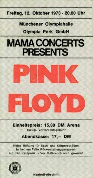 Pink Floyd 12.10.1973 München Ticket