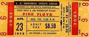 Pink Floyd 23.4.1975 Los Angeles Ticket