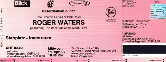 Roger Waters 2007 Zürich Ticket