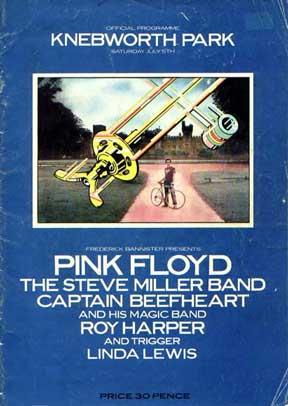 Pink Floyd 1975 Knebworth-Programm