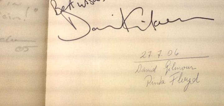 David Gilmour Burg Clam Gästebuch