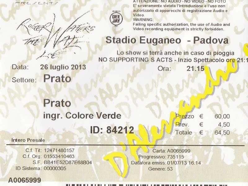 Roger Waters 26.7.2013 Padova Ticket
