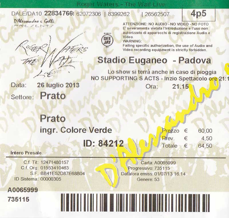 Roger Waters 26.7.2013 Padova Ticket