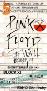 Pink FLoyd 17.2.1981 Dortmund Ticket