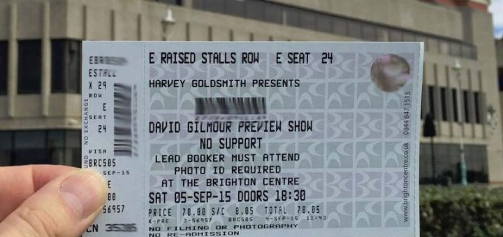 David Gilmour Brighton 5.9.2015 Ticket
