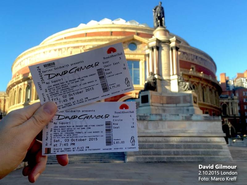 David Gilmour 2.10.2015 London Ticket