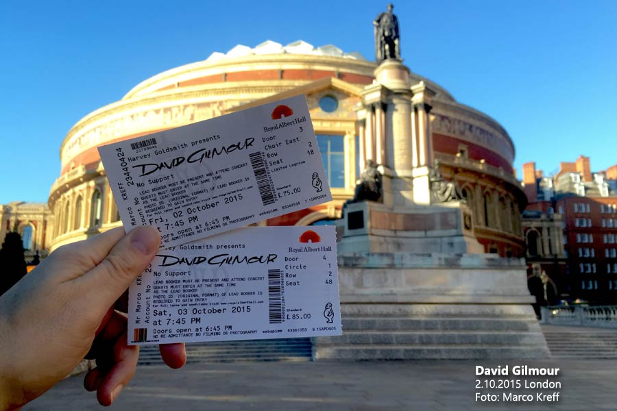 David Gilmour 2.10.2015 London Ticket