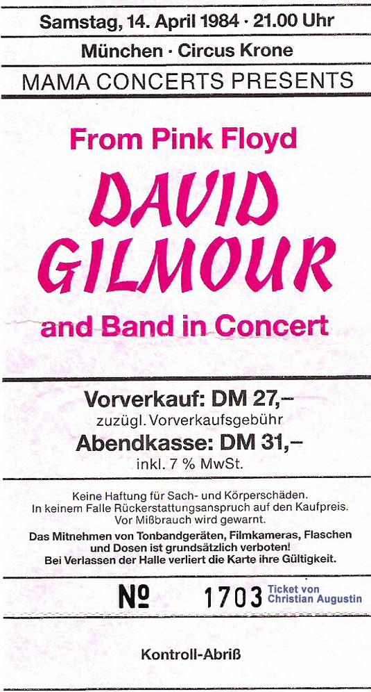David Gilmour 1984 München Ticket