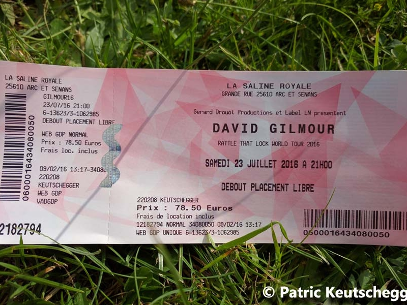 David Gilmour 2016 Besancon Ticket
