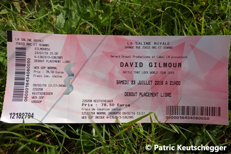 David Gilmour 2016 Besancon Ticket