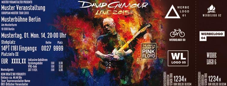 David Gilmour 2015 Oberhausen Fanticket