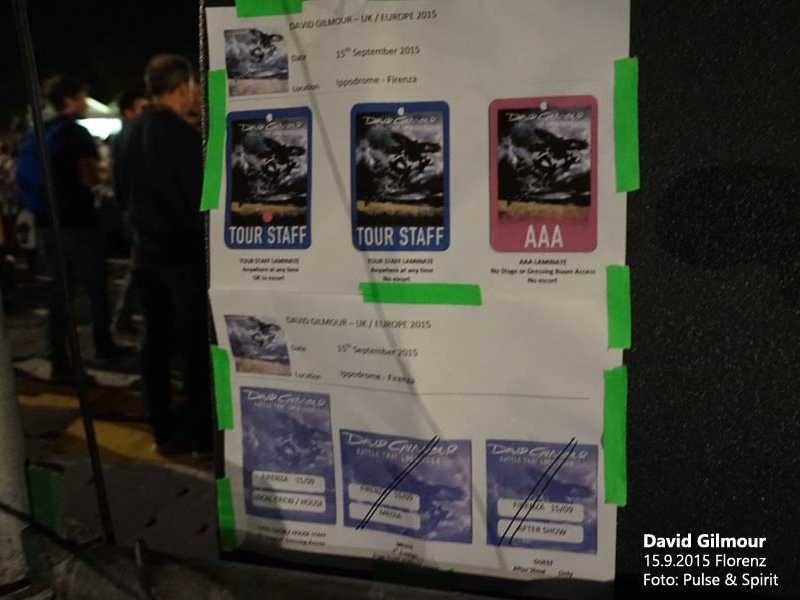 David Gilmour 15.9.2015 Florenz Backstagepässe