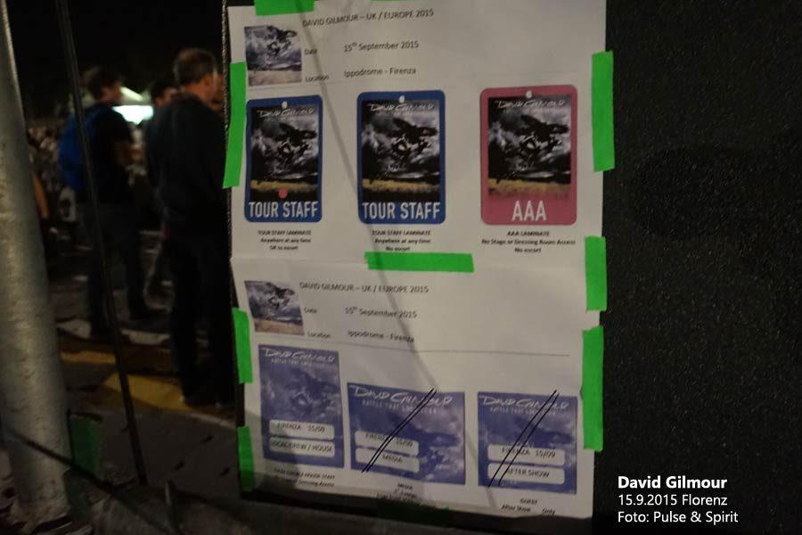 David Gilmour 15.9.2015 Florenz Backstagepässe