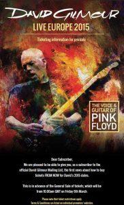 David Gilmour Live Europa 2015 Poster (Pre Sale)