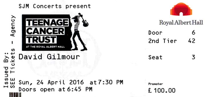 David Gilmour 2016 Ticket Teenage Cancer Trust