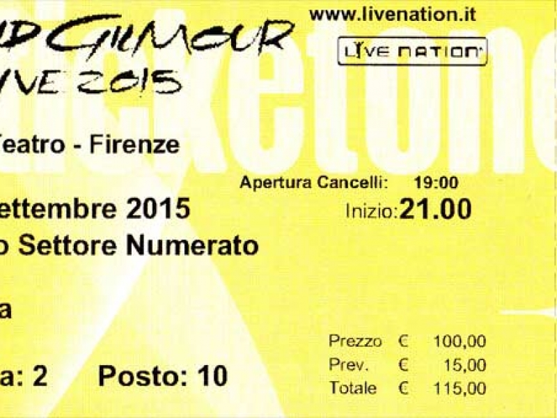 David Gilmour 2015 Florenz, Ticket