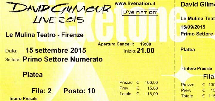 David Gilmour 2015 Florenz, Ticket