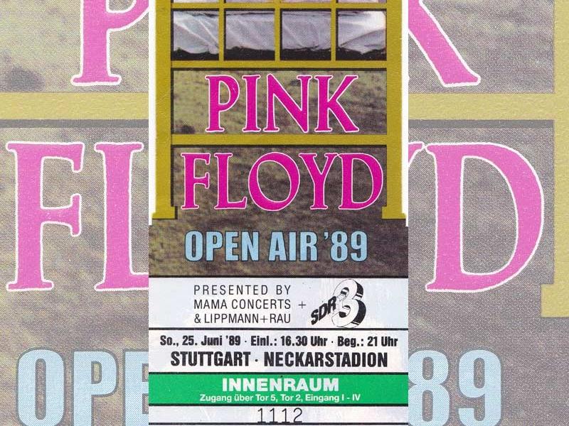Pink Floyd 25.6.1989 Stuttgart Ticket