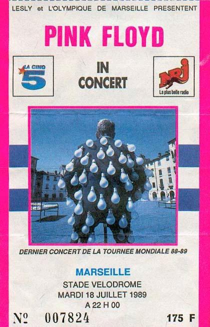 Pink Floyd Marseille 18.7.1989 Ticket