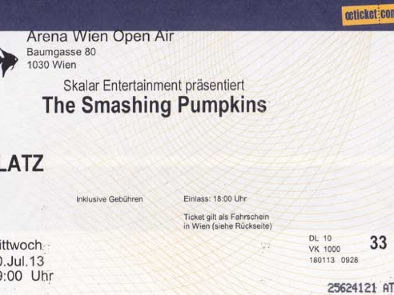 Smashing Pumpkins 10.7.2013 Wien Ticket