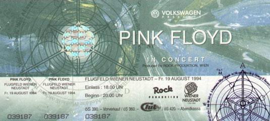 Pink Floyd 1994 Wr. Neustadt Ticket